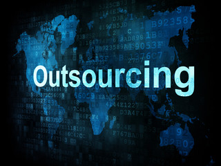 Job, work concept: pixelated words Outsourcing on digital screen