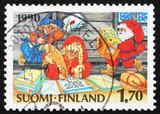 Postage stamp Finland 1990 Santa's Elves, Christmas poster