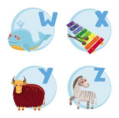Vector funny cartoon alphabet