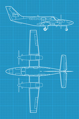 detailed vector illustration of small modern civil airplane