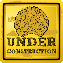 Grunge under construction human brain vector illustration
