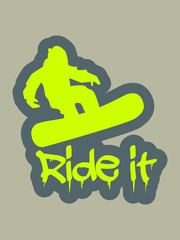 Vector snowboarder silhouette with dripping text ride it