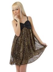 Beautiful  girl wearing sexy leopard dress