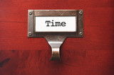 Lustrous Wooden Cabinet with Time File Label poster