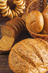 rolls and other grain products as natural food background