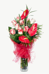 Red Anthurium and  Pink Roses
