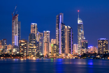 view on surfers paradise at night