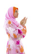 Female Muslim prayer on white background