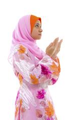 Female Muslim prayer on white background
