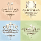 Restaurant menu and drink Logo set