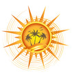 Gold tropical sun logo design
