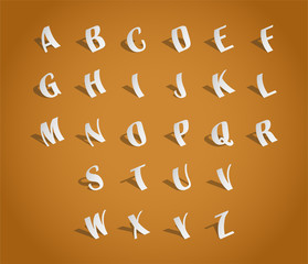 Alphabet font, cut of paper - illustration
