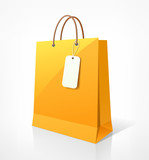 Shopping paper bag yellow empty, vector