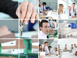 Collage of people working in an architects office