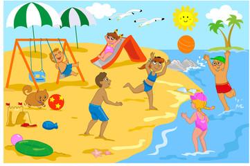 Bambini che giocano in spiaggia con palla, scivolo e altalena