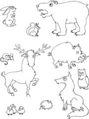 Cartoon forest animal set vector