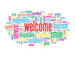 """WELCOME"" Tag Cloud (card smile customer service greetings home)"