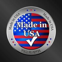 made in usa metallic vector button