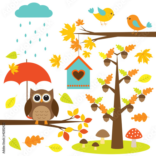 Sticker Birds,trees and owl. Autumnal set of vector elements