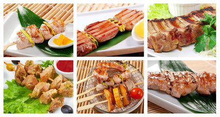 set of different skewered meat
