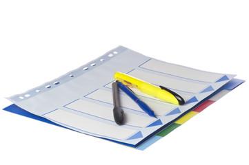 colored separator sheet