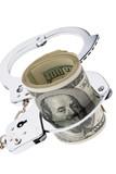 Dollar Geldscheine mit Handschellen