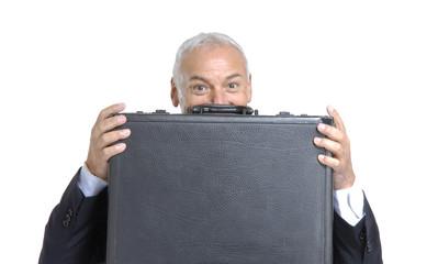 señor ejecutivo sosteniendo un maletín.negocio exitoso.