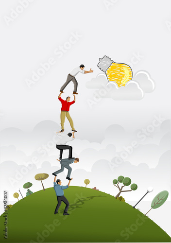 Business people carrying each other to reach a idea light bulb.