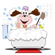 A cartoon dog having a bath