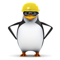3d Penguin in glasses with safety helmet