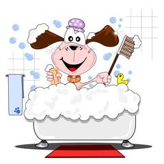 A cartoon dog having a bath