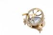Leinwandbild Motiv Old nautical sundial compass isolated