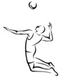 volleyball player vector outline
