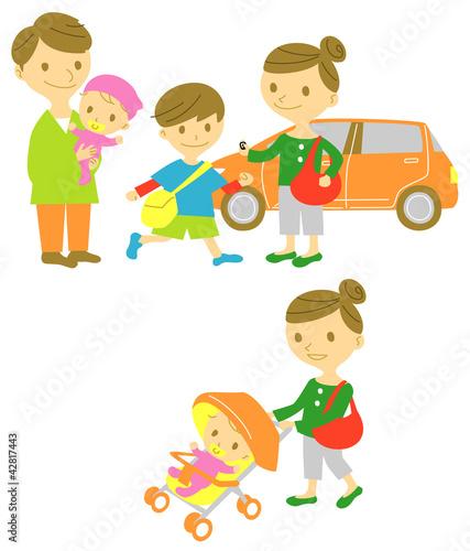 若い家族 ドライブ/散歩