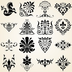 Decorative Ornaments Set of Sixteen Vintage Design Elements