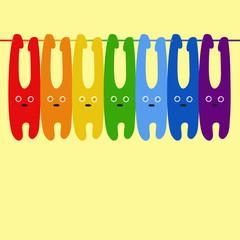 Rainbow colored bunnies