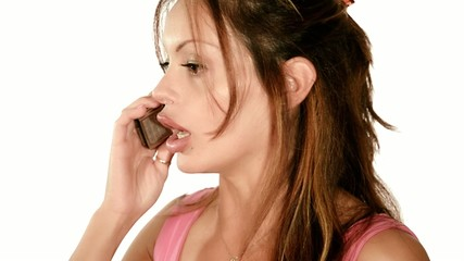 a lady quarreling on the telephone
