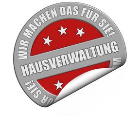 Schild graurot rund cu rt WMDFS HAUSVERWALTUNG