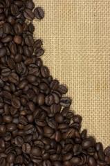 Fondo, textura natural, granos de café