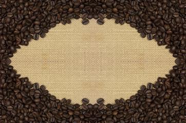 Marco, granos de café, fondo