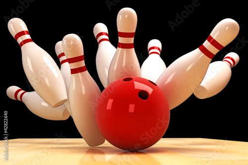 Leinwanddruck Bild Skittle and Bowling Ball