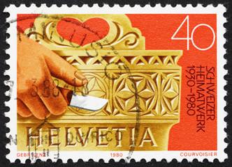 Postage stamp Switzerland 1980 Hand Carved Milk Bucket