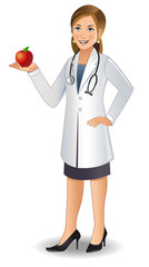 A young woman doctor in uniform holding an apple