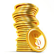 Stack of Dollar Gold Coin