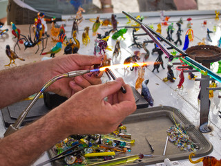 Glass blower artist at work