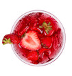 Strawberry cocktail from top view, isolated on white background