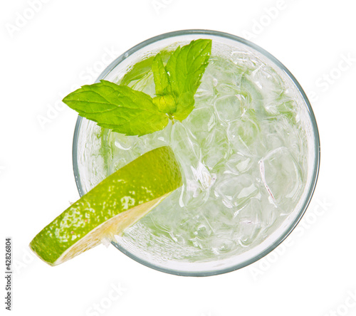 Foto op Canvas Cocktail Mojito drink from top view, isolated on white background