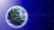 animated planet covered with roads,satellite,airplanes