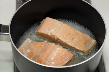 Two Salmon Fillets Poaching