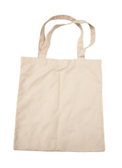 Brown cotton bag on white isolated background